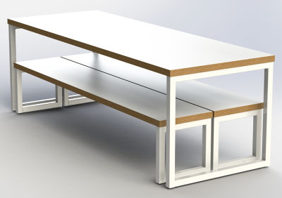 Axim Loop Frame Bench Dining Set - Not In Use - Angle