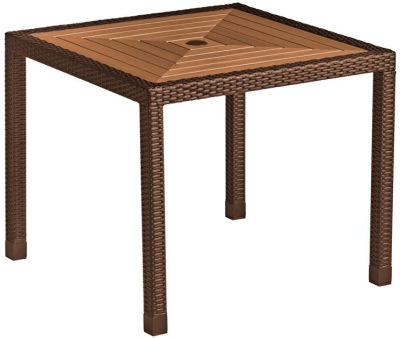 Linza Weave Dining Table With A Teak Table Top - Cappuccino Frame