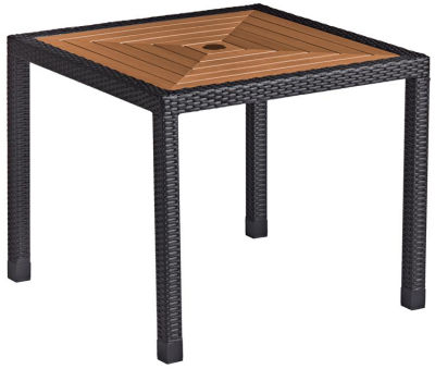 Linza Weave Dining Table With A Teak Table Top - Black Frame