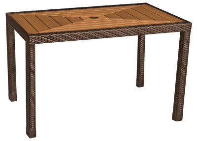 Linza Rectangular Weave Dining Table With A Teak Table Top