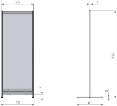 Deluxe PVC Floorstanding Room Divider Screen Dimensions 1