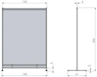 Deluxe PVC Floorstanding Room Divider Screen Dimensions 2