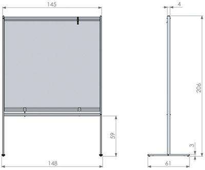 Deluxe PVC Floorstanding Screen Divider Dimensions 2
