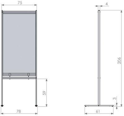 Deluxe PVC Floorstanding Screen Divider Dimensions 1