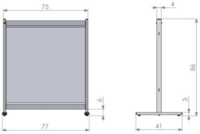 Deluxe PVC Freestanding Desk Divider Screen Dimensions 1