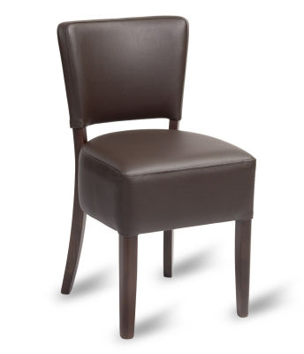 Madrid Mocha Brown Faux Leather Side Chair With A Walnut Finish