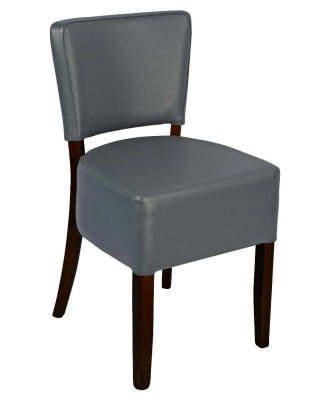 Madrid Grey Faux Leather Side Chair With A Walnut Finish
