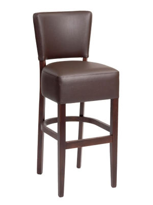 Rosie Mocha Brown Faux Leather High Stool With A Walnut Finish