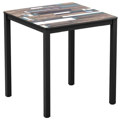 Geo Outdoor Square Table With A Driftwood Top