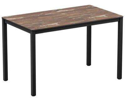 Geo Rectangular Table With A Vointage Planled Wood HL Top