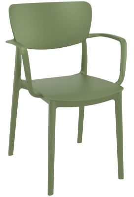 Remona Olive Green Poly Arm Chair
