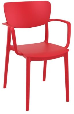 Remona Red Outdoor Plastic Armchair