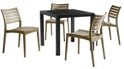 Stuart Four Seater Dining Set With Taupe Chaitrs