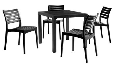 Stanley Four Seater Dining Set With Black Chairs