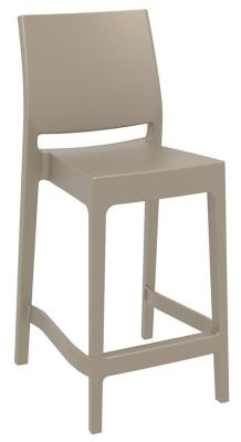 Avaey Mid Height Outdoor Bar Stool In Taupe