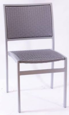 Vola Outdoor Side Chair With A Dark Taupe Weave