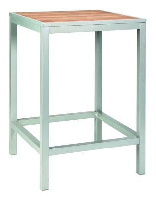 Brewer Square Bar Height Table With A Silver Frame