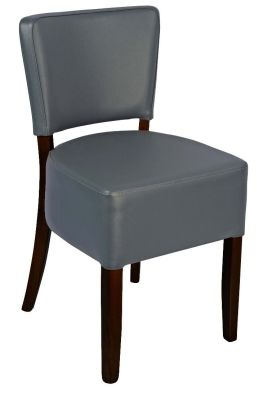 Rosie Side Chair In Grey Leather