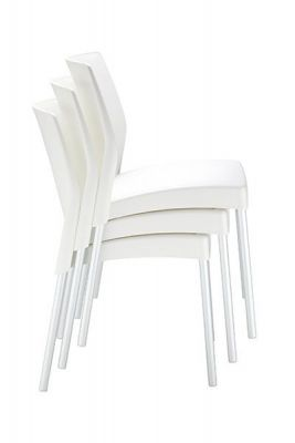 Designer Stacking Chair With Anodized Aluminium Legs And Colour Polypropelene Seat
