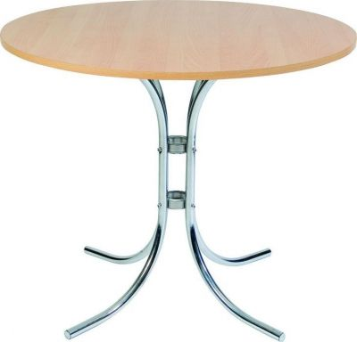 Classic-Round-Cafe-Table-with-Four-Leg-Chrome-Base-Round-Beech-MFC-Top