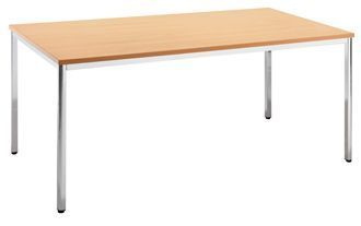 Rectangular-Multipurpose-Canteen-Table-with-Wood-Finish-Top-Chrome-Frame