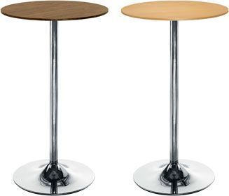 Complete Cafe Poseur Table Trumpet Base Chrome Beech Or Walnut Top