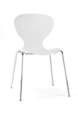 White Plastic Chair Round Back Chrome Frame