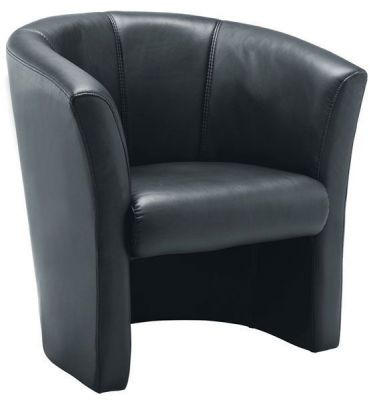 Padded Black Leather Faced Tub Chair With Stitching