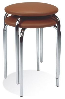 Low Stool Four Leg Aluminium Or Silver Legs Round Vinyl Padded Seat