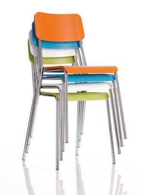 Stacking Bright Colour Bistro Chair Plastic Seat And Back Chrome Frame