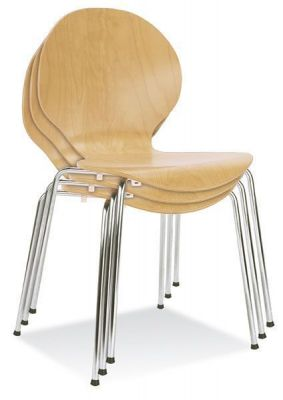Stacking Round Back Beech Cafe Chair Chrome Legs