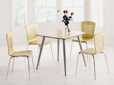 Four Chair Beech Seat And Square Table Bistro Set Bundle Deal