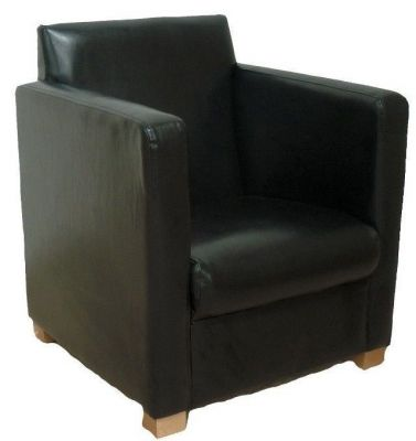 Chunky Box Style Tub Chair Wood Feet Faux Leather