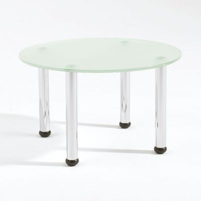 Round Glass Coffee Table Four Chrome Tube Legs