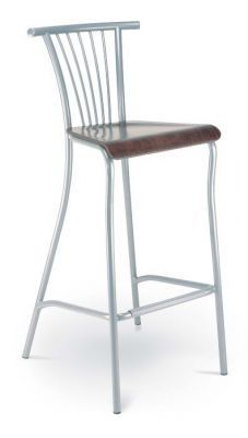 Silmline Barstool With Wood Seat And Silver Frame