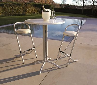 Stacking And Folding Bar Stool Silver Frame And White Vinyl Padded Seat