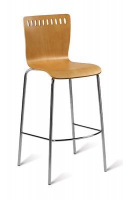 Beech Finish Seat Designer Barstool Chrome
