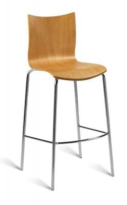 Barstool Chrome Frame Polished Natural Veneer Seat