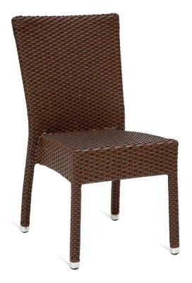 Brown Synthetic Weave Outdoor Use Sidechair