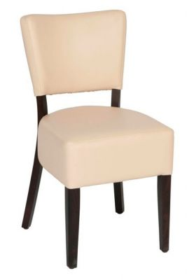 Ivory-Faux-Leather-Upholstered-Dining-Chair--with-Wood-Frame