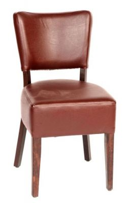 Brown-Faux-Leather-Upholstered-Dining-Chair-with-Wood-Frame