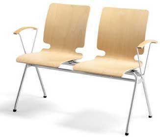 Waiting Room Plywood Beam Seating Aluminium Or Chrome Frame