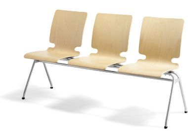 Three Seat Beam Unit With Upholsteres Seat And Back