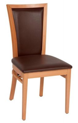 Wooden-dining-chair-with-natural-wood-finish-frame-and-upholsetered-brown-leather-seat-and-back