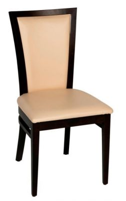Cream-leather-upholstered-dining-chair-with-a-walnut-wood-frame