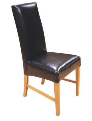 Chocolate-Brown-Genuine-Leather-High-Back-Dining-Chair-with-Honney-Finish-Wood-Frame
