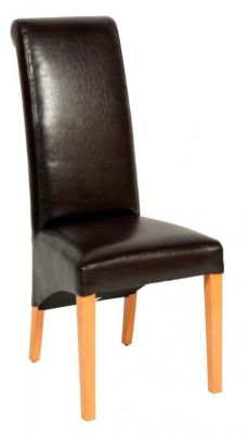 Assembled-dining-chair-in-faux-leather-with-solid-wood-rame-Dark-Brown