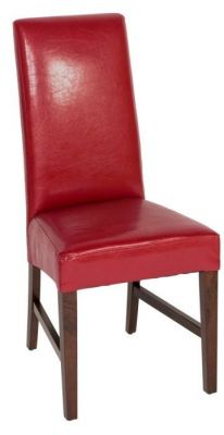 Bright-red-faux-leather-dining-chair-with-high-back-and-dark-wood-legs