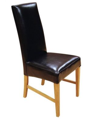 Black-genuine-leather-dining-chair-with-a-solid-wood-frame