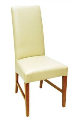 Cream-finish-real-leather-dining-chair-with-sold-wood-frame